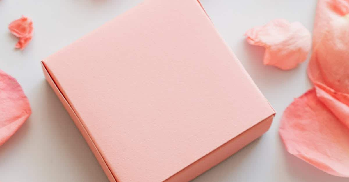 A pink box on a table