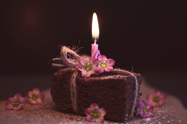 A birthday cake with lit candles