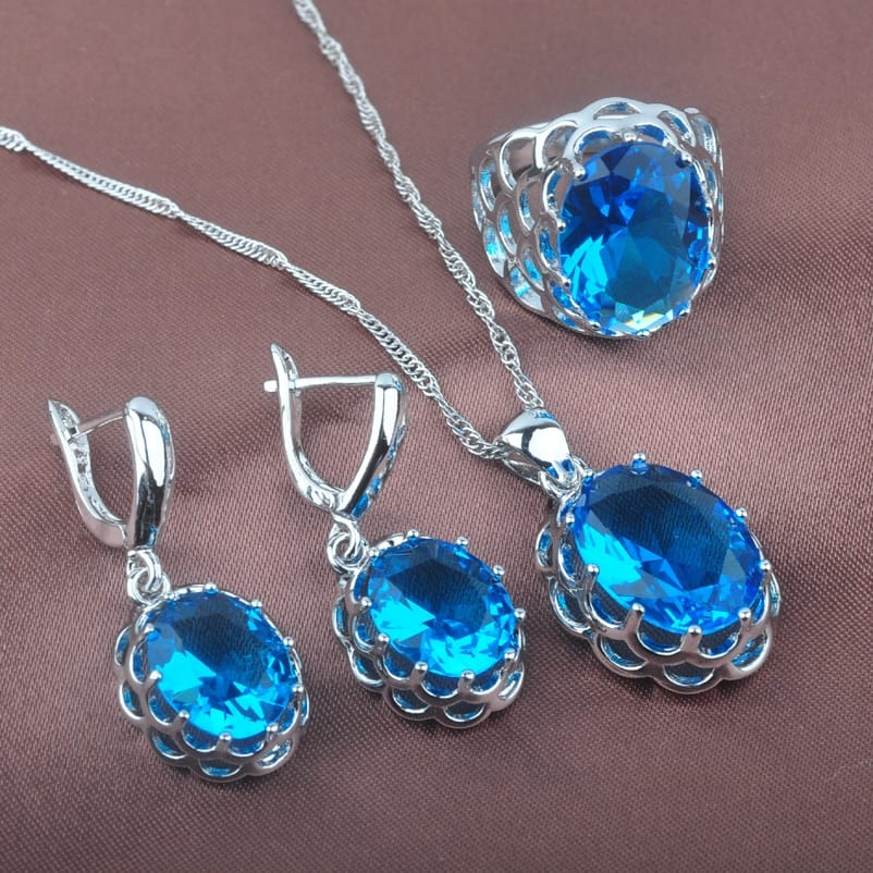 A necklace with a blue background